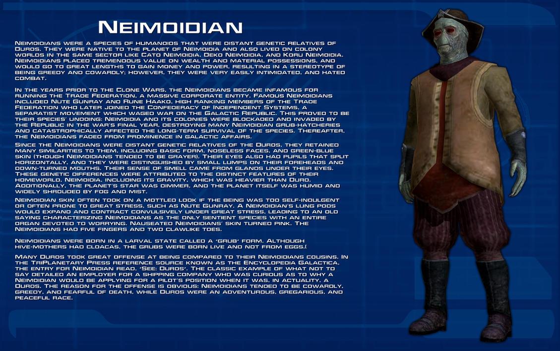 Neimoidian species readout [New] by unusualsuspex