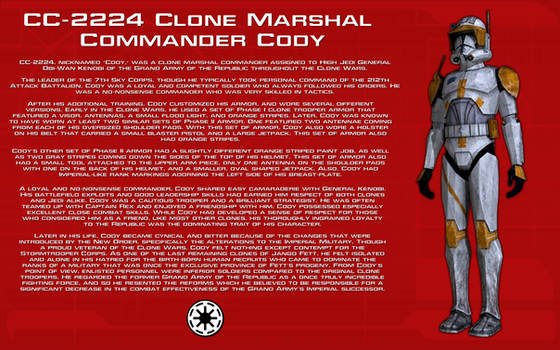 Clone Marshal Commander Cody character bio [New]