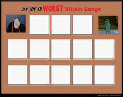 Top 13 WORST Villain Songs Meme by cartoonfanboyone