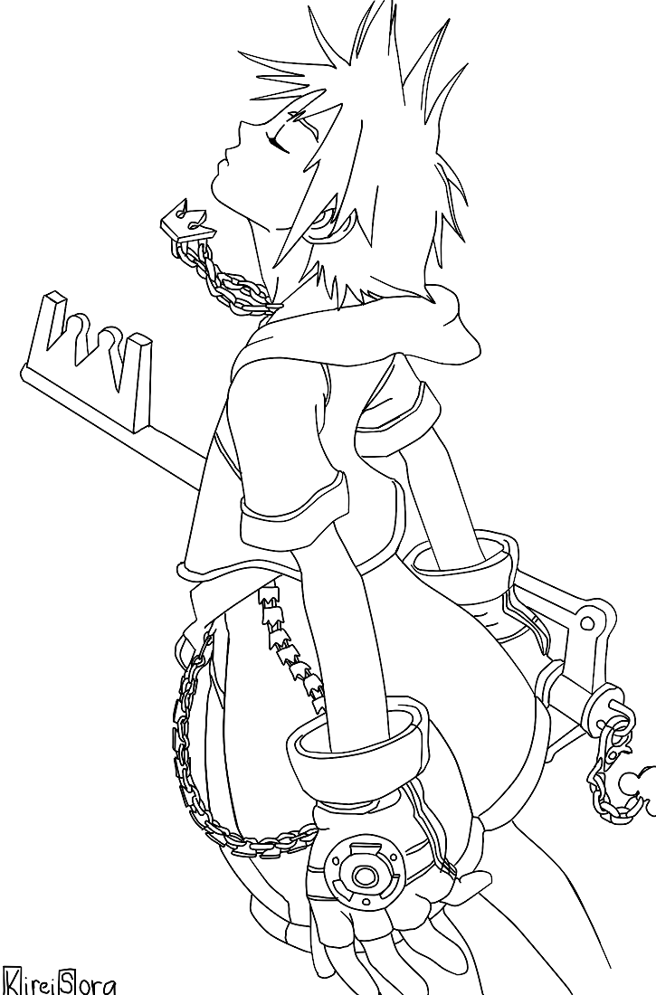 Kingdom Hearts Lineart : Sora from kingdom hearts lineart by kireisora on deviantart