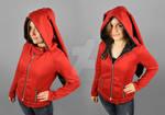 Red Moto Jacket Hoodie with Long Rabbit Ears