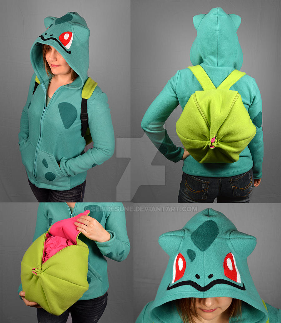 Bulbasaur Hoodie with Bulb Backpack Vers. 2.0 by SewDesuNe