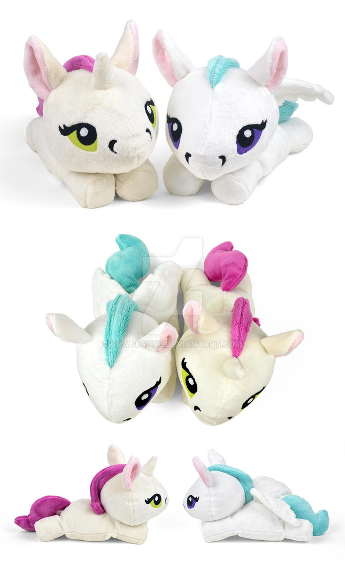 Unicorn and Pegasus Plush by SewDesuNe