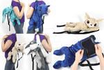 Plush Cat, Fox, and Rabbit Backpacks