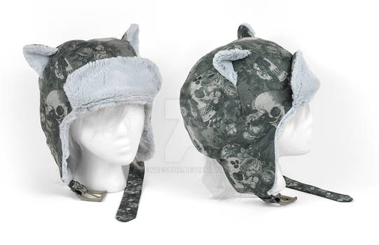 Cat Aviator Cap with Skulls