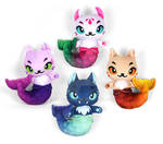 Sea Witch Printed Mer-kitty Plushies