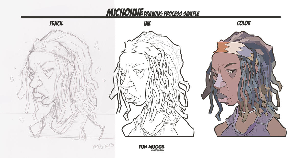 Michonne-drawing-process (The Walking Dead) by AldenMiranda