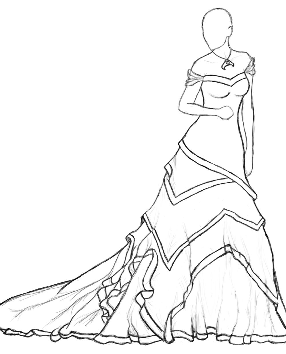 Line Art Wedding : The gallery for gt a line wedding dress sketch