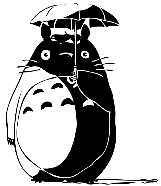 Totoro Black And White By Djdragonfire On Deviantart