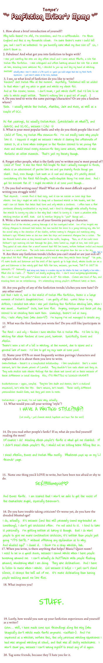 Fanfiction Writer's Meme by 30-Seconds-From-Mars