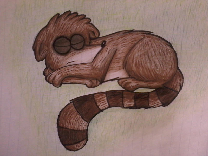 Rigby sleeping by xXSonnyTheCatXx
