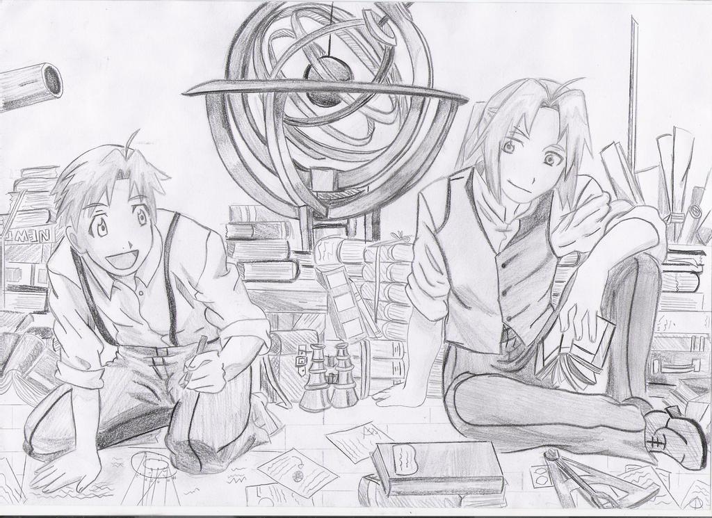Edward and Alphonse at Library by Mitsusuki