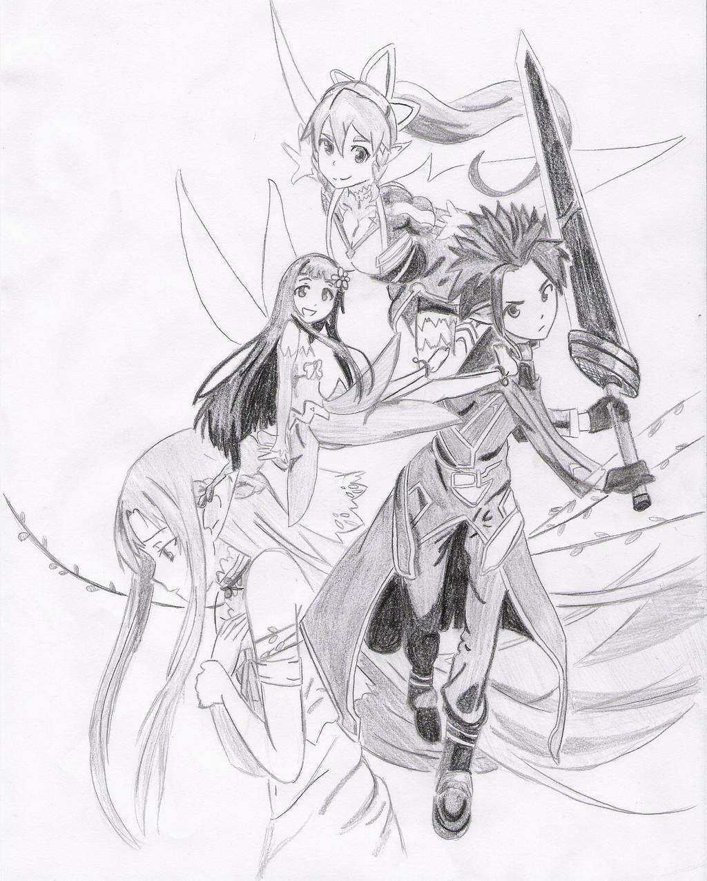 Sword Art Online (Kirito, Asuna, Yui and Leafa) by Mitsusuki