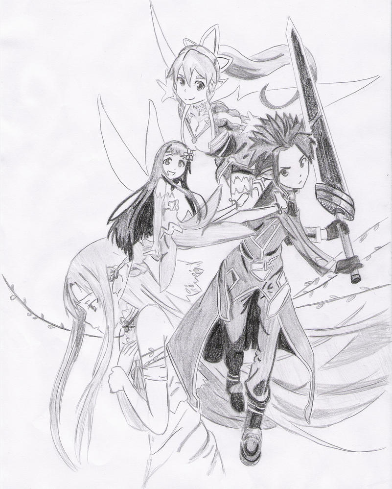 Sword Art Online (Kirito, Asuna, Yui and Leafa) by Mitsusuki