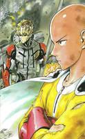 One Punch Man Artwork Saitama Genos by corphish2