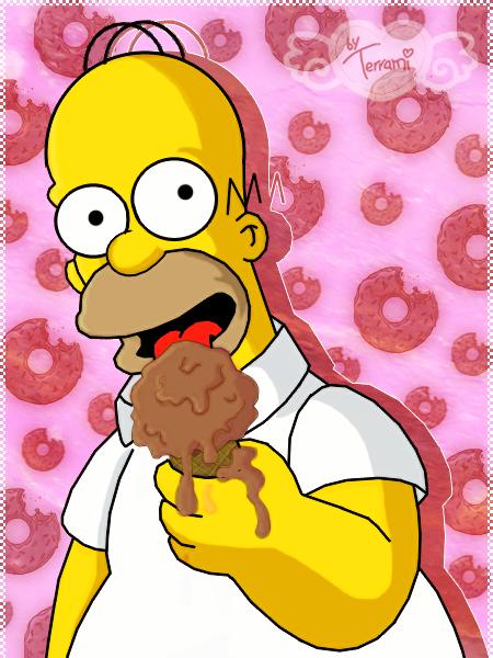Homer eating an ice-cream by Terrami