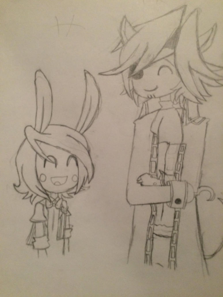 Foxy and Toy Bonnie pencil by FrozenOlympus42