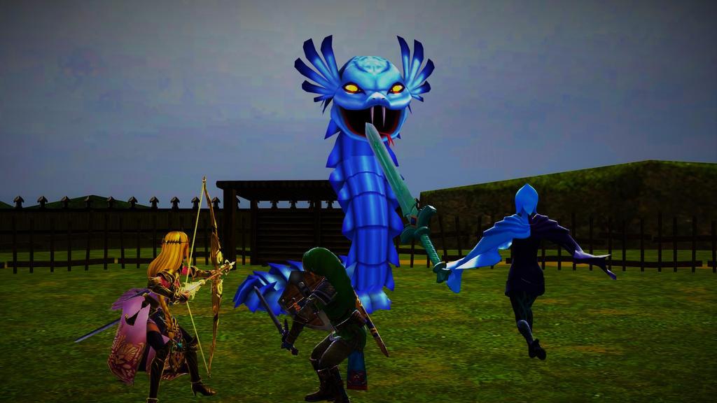 The Legend of Zelda crew VS. The Naga by FrozenOlympus42