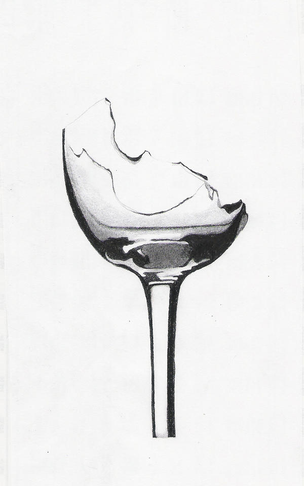 Broken wine glass by danicamia on deviantart for How to draw on wine glasses