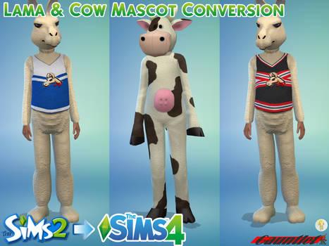 Sims2 to Sims4 Lama and Cow Mascot Conversion