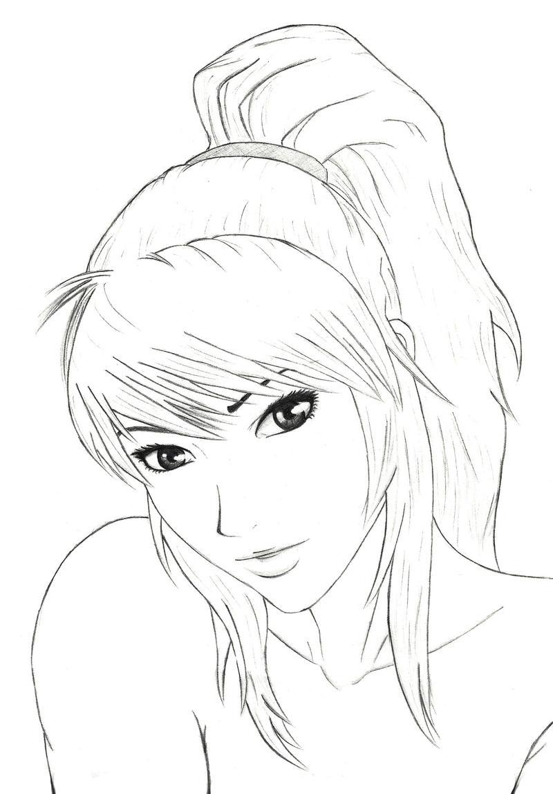 Line Drawing Girl Face : Girls face by mangekyoubi on deviantart