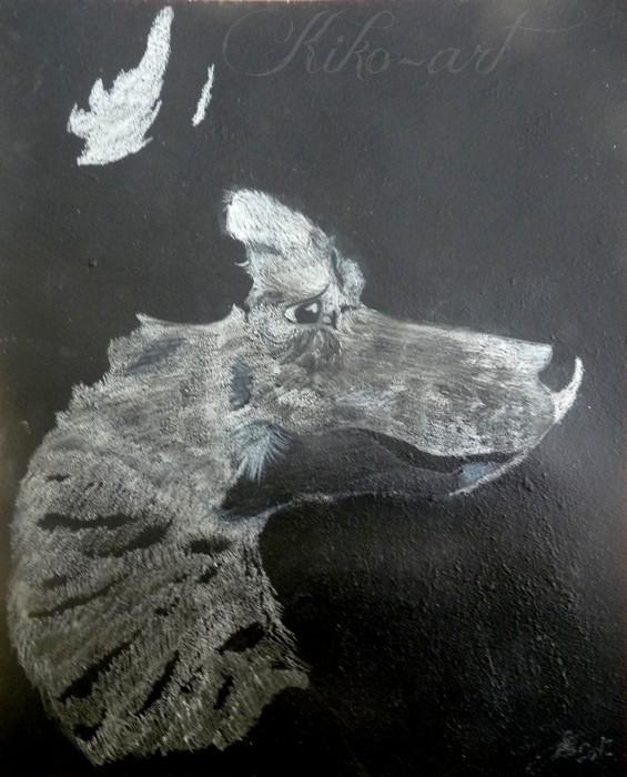 Dessin uski sur fond noir aux fusains blanc by kiko art on - Dessin fond noir ...