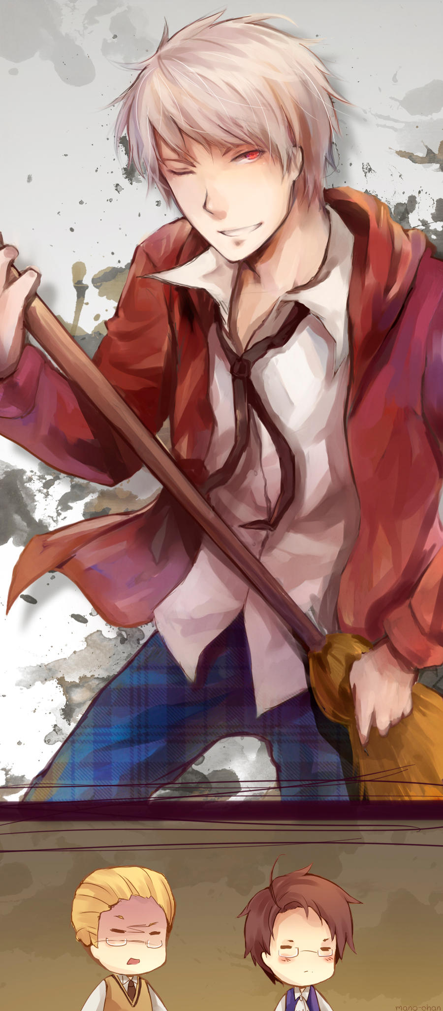 APH Prussia and his Broom Guitar by Mano-chan