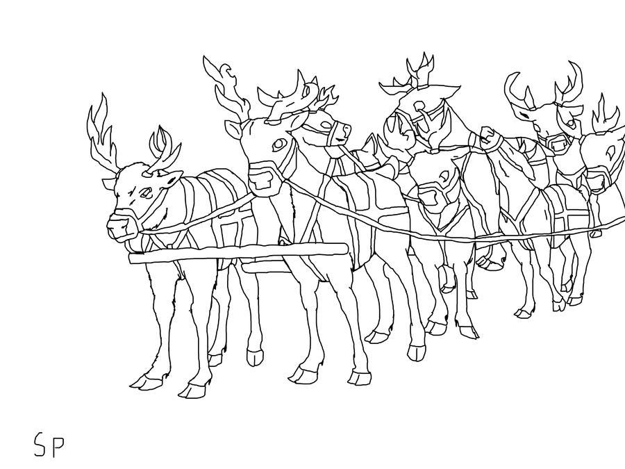 Line Drawing Reindeer : Reindeer line up lineart tack by spritrain on deviantart