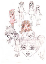 Sketches of young girls