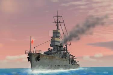 Japanese destroyer at sunset