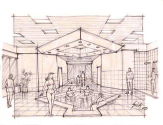 Pool project interior sketch