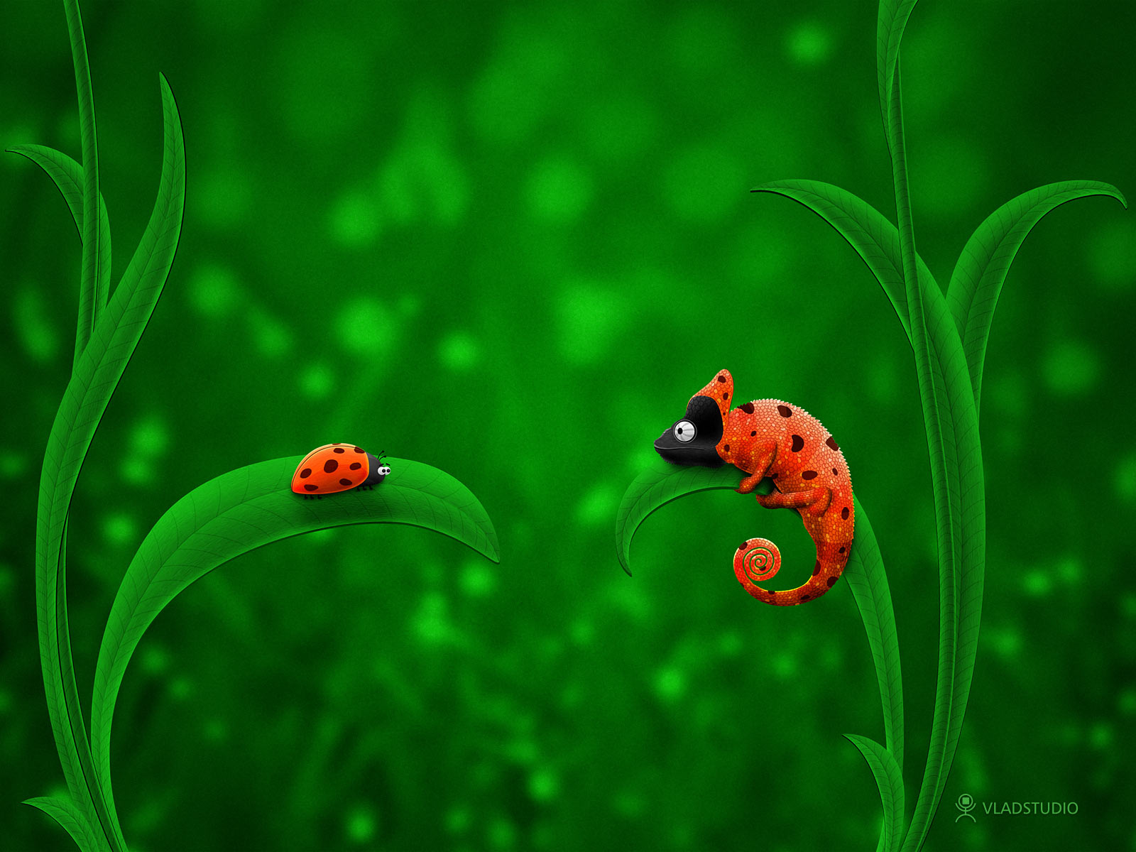 Ladybug and Chameleon by vladstudio