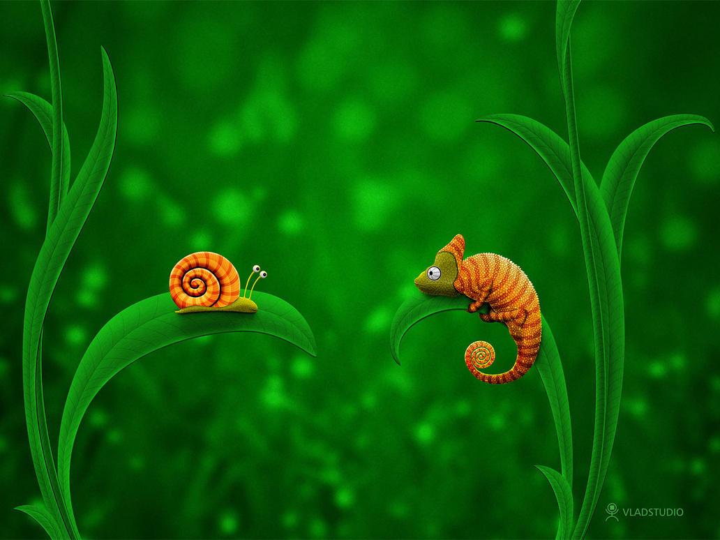 La blague du jour ! Snail_and_Chameleon_by_vladstudio