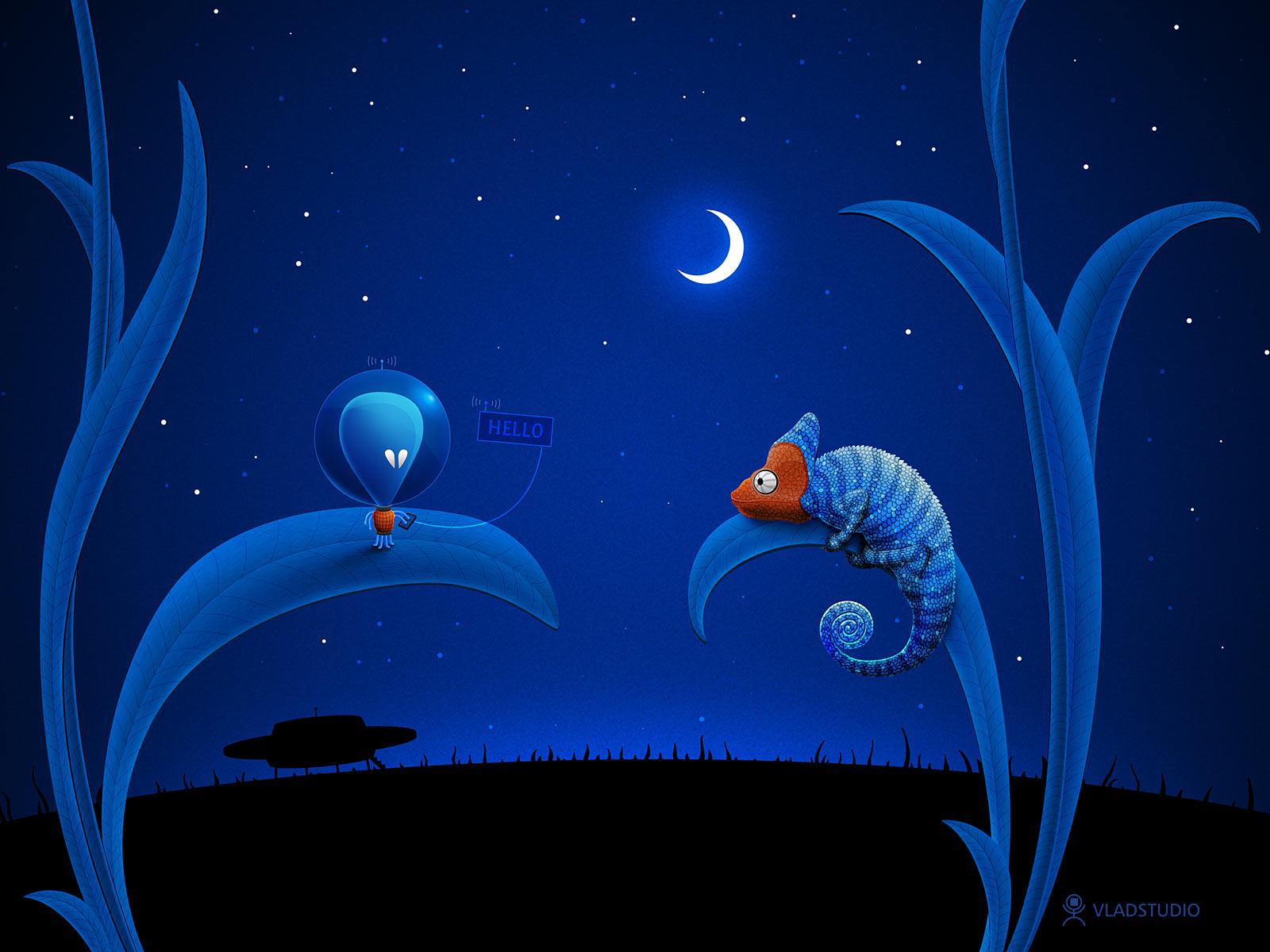 Alien and Chameleon by vladstudio