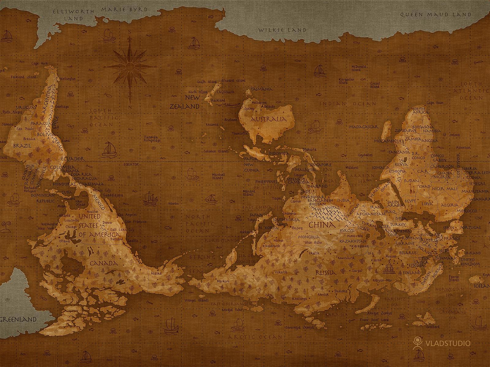 world map upside down by vladstudio
