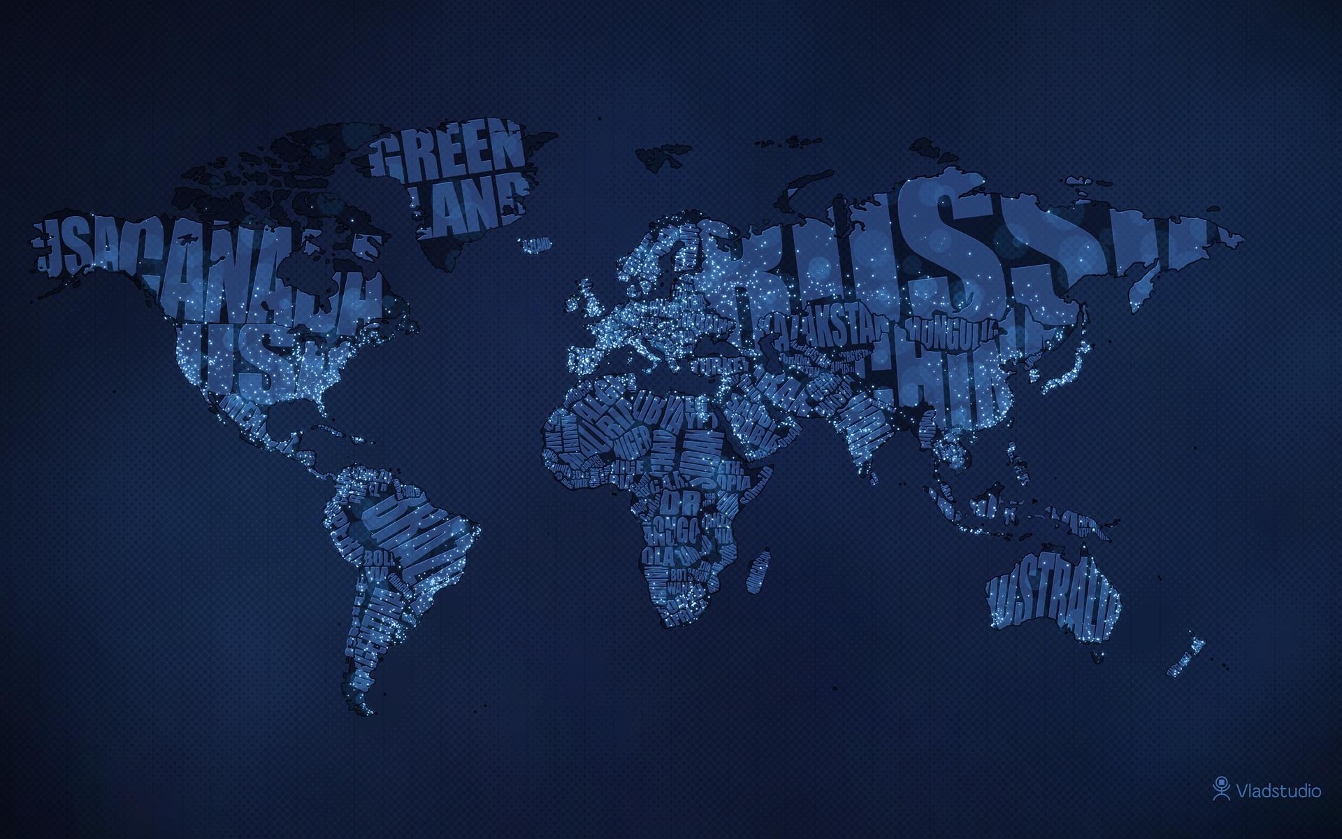 Typographic World Map Night