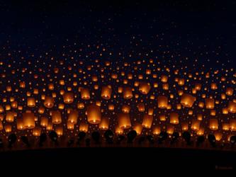 Sky Lanterns by vladstudio
