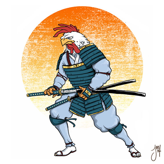 Samurai Rooster by martianink