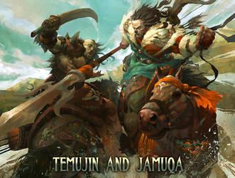Temujin and Jamuqa. by masterkey23