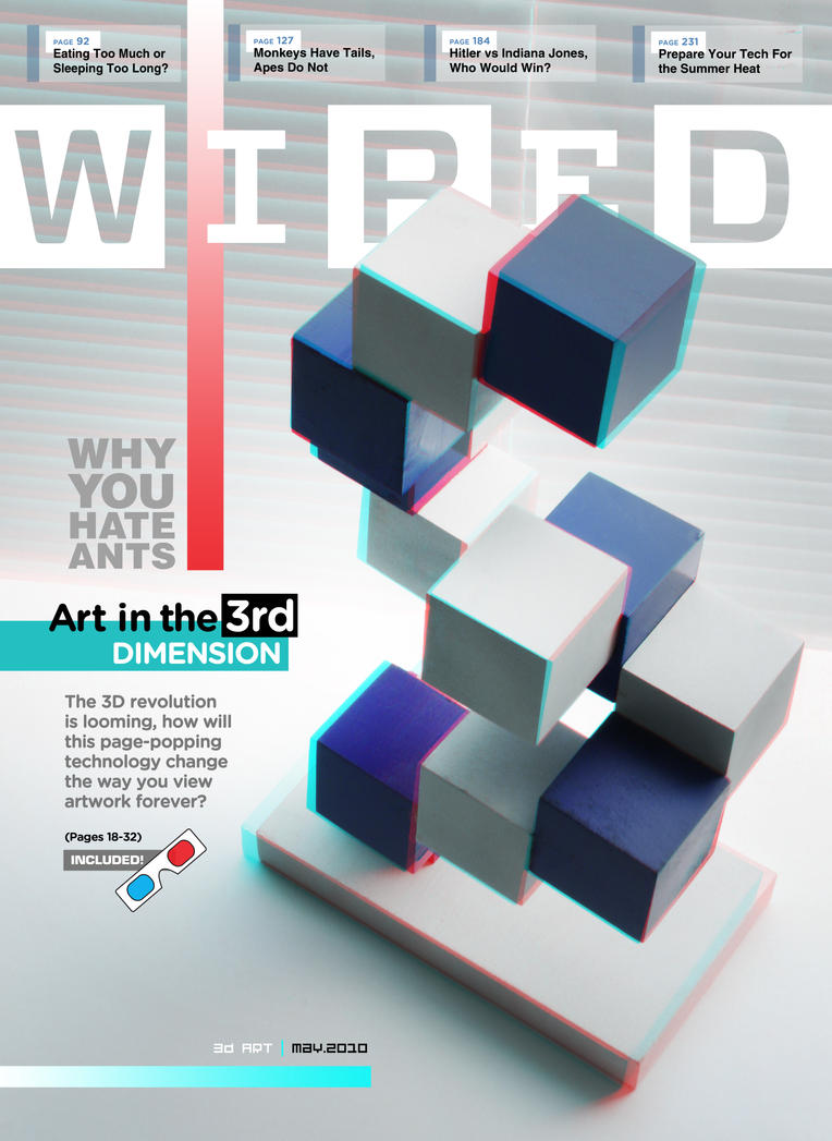 3D 'Anaglyph' WIRED Cover by JustMarDesign