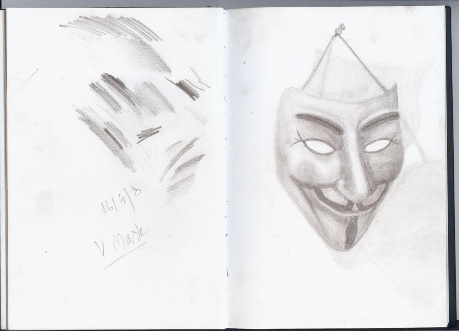 V For Vendetta Mask Drawing V Mask - V for Vendetta by