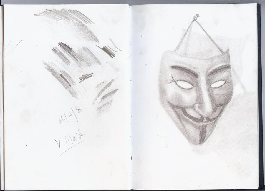 V For Vendetta Mask Drawing V Mask - V for Vendetta by