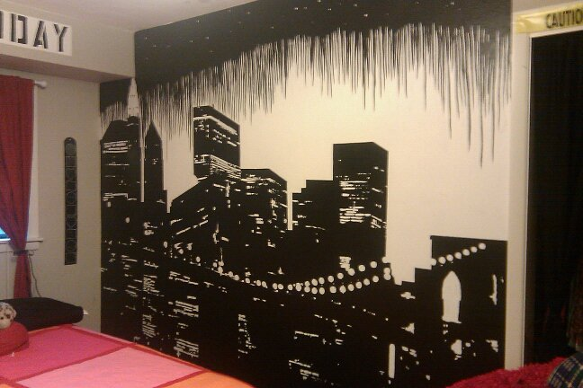 Cityscape mural by spacekablooey on deviantart for City scape mural