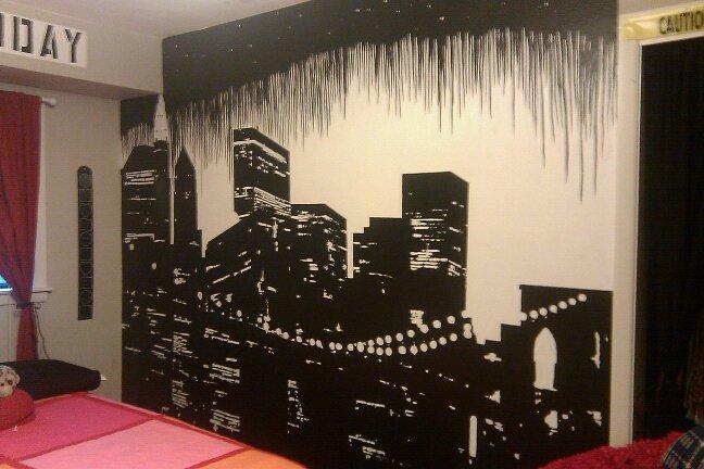 Cityscape mural by SpaceKablooey on DeviantArt