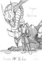 Eragon and Saphira by whisper-trove