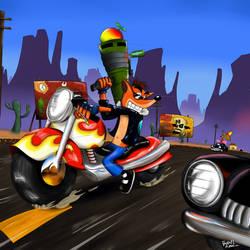 Crash Bandicoot Warped: Hog Ride by rafaeldvart