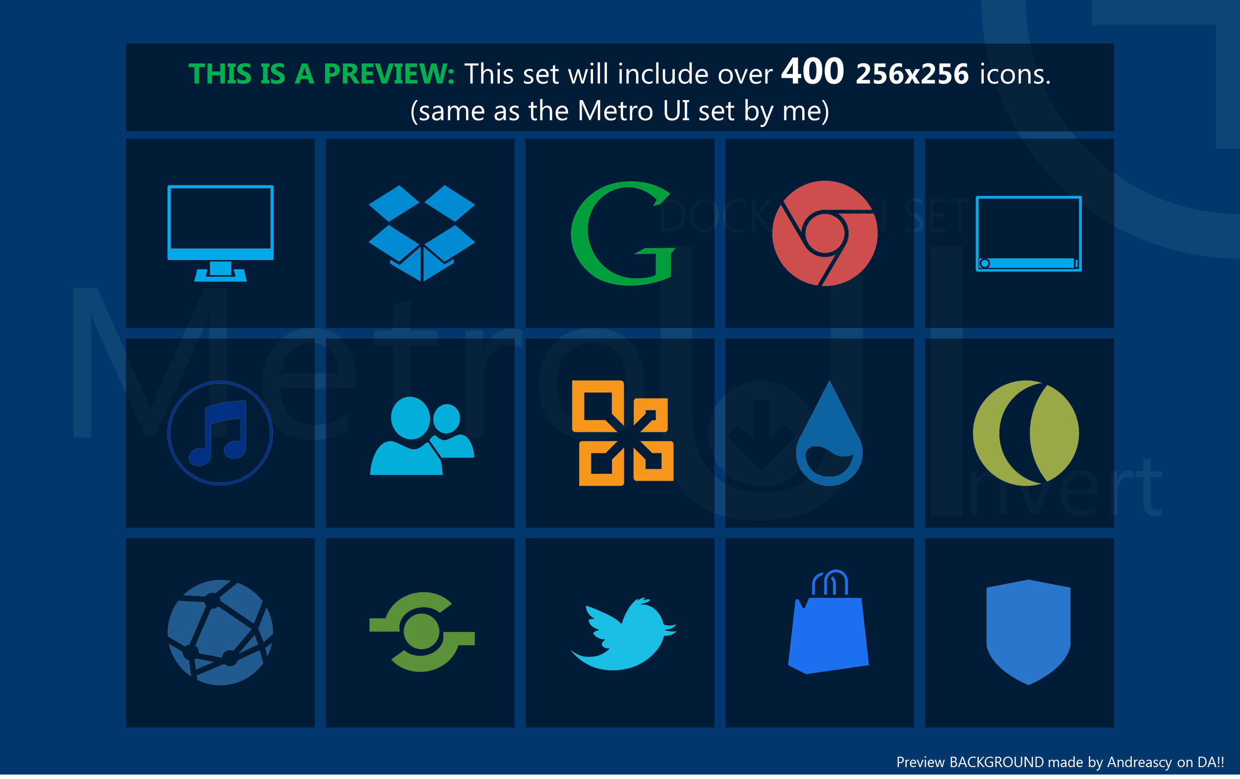 PREVIEW - Metro Uinvert Dock Icon Set COMING SOON by dAKirby309