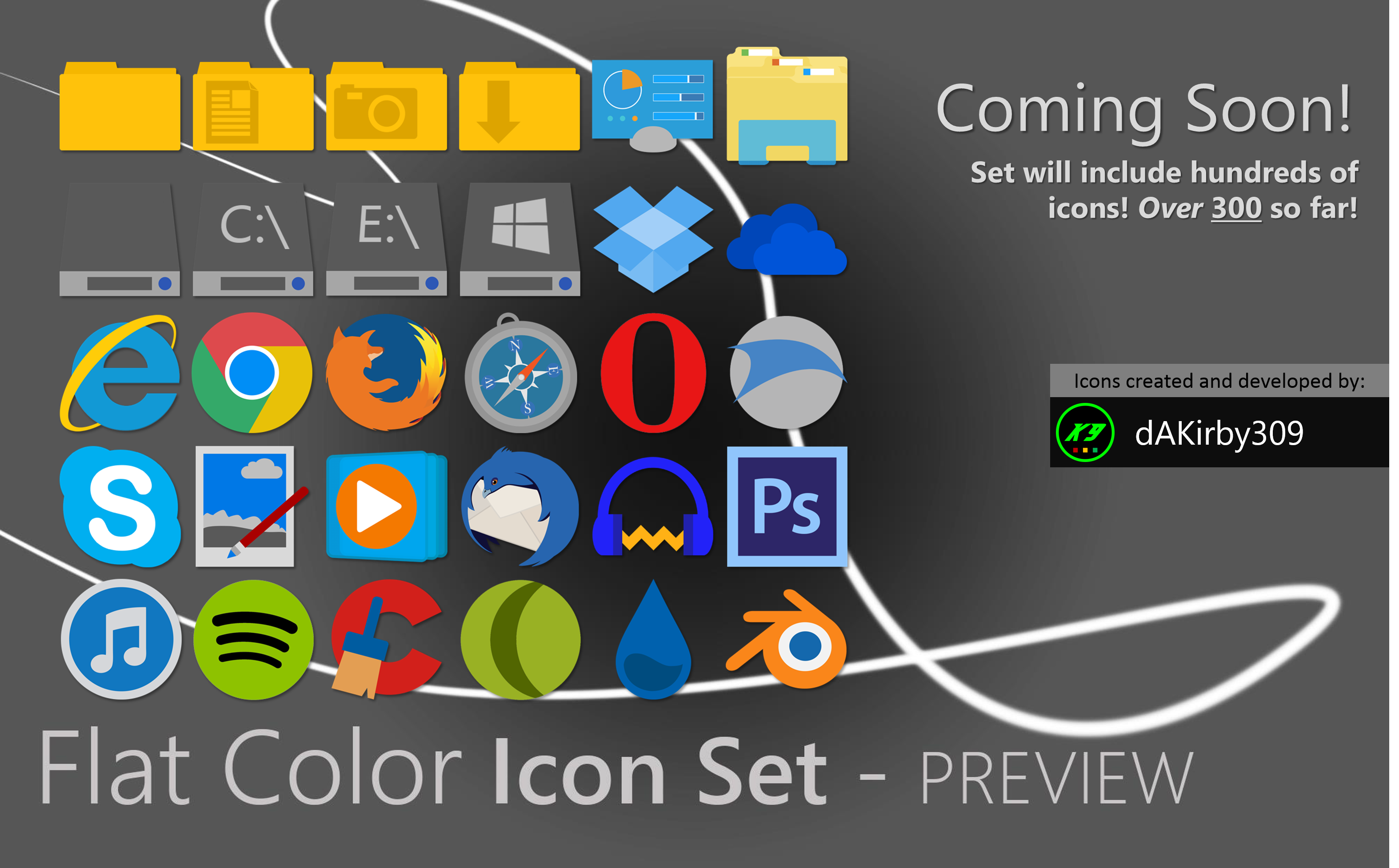 Flat Colors Icon Set - PREVIEW #1