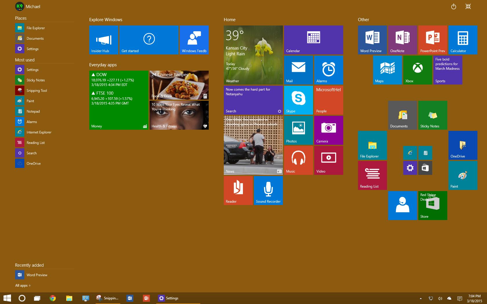 Playing Around with Windows 10