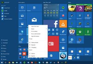 Windows 10 Start Menu Jumplist Concept